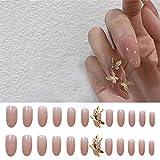Uñas falsas 24 piezas de diseño de uñas postizas con decoración de mariposas, acabado de uñas, uñas acrílicas, cabeza ovalada, productos de tamaño medio, arte de uñas