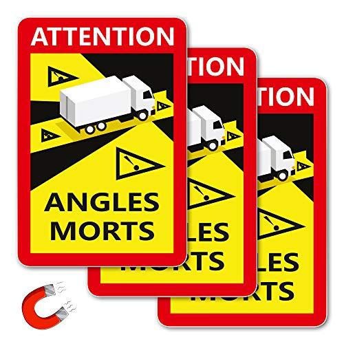 Schilder Magnetschilder | Hinweisschild' Angles Morts für Frankreich | LKW/BUS Toter Winkel Aufkleber | 250 x 170 mm | 3 Stück |