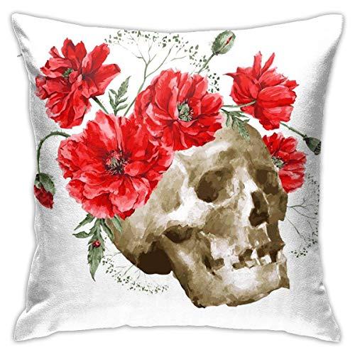 Lsjuee Funda de Almohada Acuarela Vector Vintage Tarjeta Ramo Rojo Funda de cojín Decorativa Throw Pillow Fundas Protectores 45x45 cm