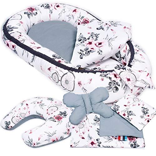 PALULLI - Set de 6 piezas para bebé (nido de 95 x 55 cm, cojín de lactancia, colchón para bebés, manta, cojín plano, cojín cervical, suave como el acurrucar) Cojín de lactancia Menta para invitados.