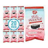 Kimchi Sea Snacks by KPOP Foods - Premium Seaweed Sheets - Kimchi Flavor (Pack of 20) Delicious and Crispy Seaweed Snacks - Vegan Low Calorie Superfood