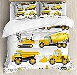 Juego de funda nórdica para guardería, imágenes abstractas de vehículos de construcción, maquinaria, camiones, grúas excavadoras, juego de cama decorativo de 3 piezas con 2 fundas de almohada, amarill