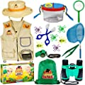 OzBSP Kids Outdoor Adventure Kit. Kids Explorer Kit. Nature Exploration Toy for Boys Girls. Bug Catching Pack. Safari Vest & Hat Costume, Binoculars, Tweezers, Magnifying Glass, Butterfly Net, Compass by Big Sky Products Pty Ltd