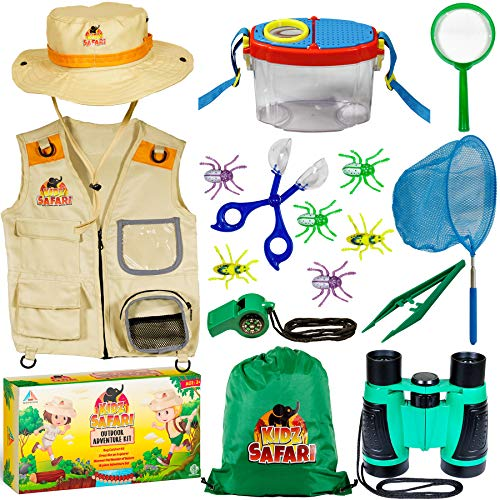 OzBSP Kids Outdoor Adventure Kit. Kids Explorer Kit. Nature Exploration Toy for Boys Girls. Bug Catching Pack. Safari Vest & Hat Costume, Binoculars, Tweezers, Magnifying Glass, Butterfly Net, Compass