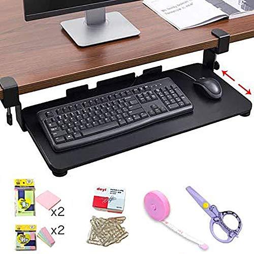 キーボードトレイ クランプ式 デスク 幅65cm スライド式キーボードトレイ アジャスト可能 キーボードスライダー 後付け デスク クランプ フルキーボード マウス収納対応 机上台 PC 手首 アームスタンド