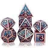 7 Dadi di Metallo Poliedrico Dadi Set DND Gioco di Ruolo Dadi Set,con per Rpg Dungeons e D...