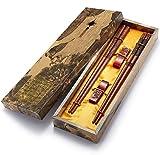UNIFONE Essstäbchen, wiederverwendbar, chinesischer Stil, Holzdrache und Phönix, Essstäbchen, mit Halter und Tragetasche, chinesisches Geschenk-Set (2 Paar)
