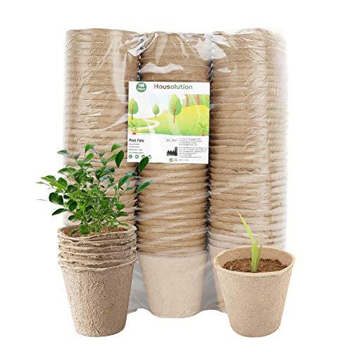 Housolution Macetas de Turba para Las Plántulas [100 Piezas], Kit de Bandeja de Inicio de Semillas de Jardinería de 3 Pulgadas, Botes Ecológicas de Inicio Biodegradables para Plantas - Caqui