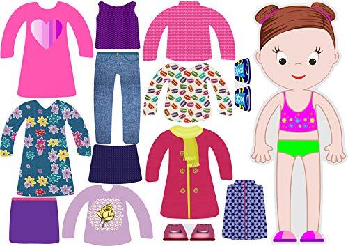 BeCrea Spielset Serie Little Fashionista`s Magnetische Anziehpuppen mit 13 Kleidungsstücken (Abigail)