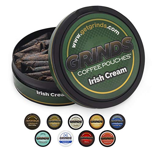 Grinds Coffee Pouches | 6 Cans of Irish Cream | Tobacco Free, Nicotine Free Healthy Alternative | 18 Pouches Per Can | 1 Pouch eq. 1/4 Cup of Coffee (Irish Cream)