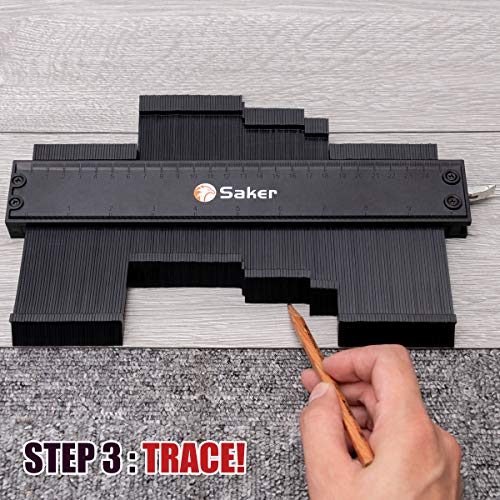 Saker Contour Gauge Profile Tool- Adjustable Lock-Precisely Copy Irregular Shape Duplicator - Must Have Tool for DIY Handyman, Construction (10INCH)