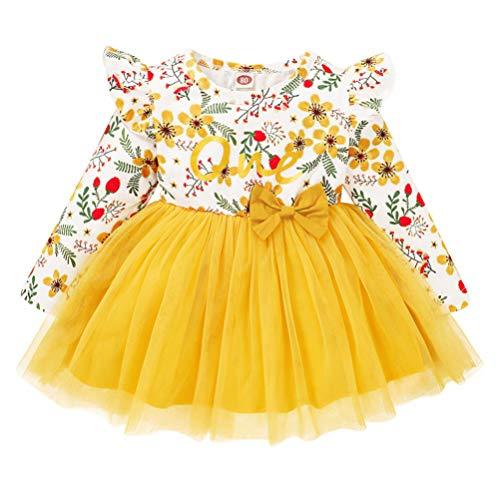 Amosfun Infantil Tutu Vestido Bowknot Menina One Piece- Vestido de Tule Menina Floral Impresso Saia Vestido Desempenho Crianças (Amarelo 90CM)