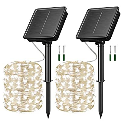 HighCo Upgraded Solar Powered String Fairy Lights Outdoor 8 Modes Waterproof IP65 Twinkle Lighting Fairy Firefly Silver Wire Light Auto ON/Off