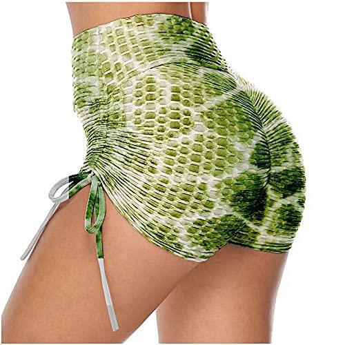 Fainash Pantalones Cortos Estampados para Mujer de Cintura Alta Levantamiento de glúteos Sexy Slim Fit Tendencia Moda básica Yoga Ciclismo Pantalones Cortos Deportivos Leggings XL
