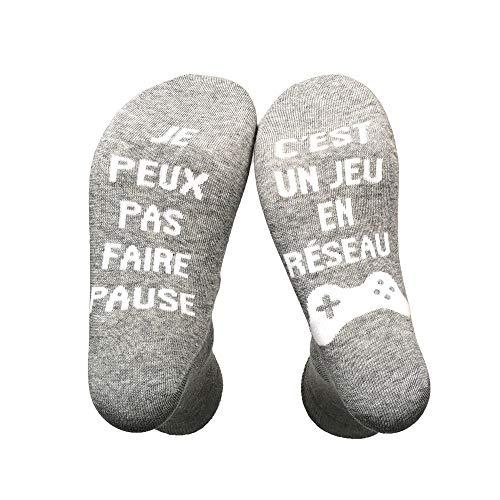 unknow Yuboa Si Tu vois ça,Apporte Moi Une Bière Chausette Cotton Drôle Funny Socks écrivent en Française Thick Socks Pour homme femme Cadeau de Noël Chausettes Fantaisies (gris2)
