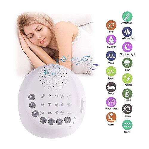 HYDDG Mini Schlaf Weiß Lärm Maschine tragbar Klang Maschine, 15 Beruhigend Natürlich Geräusche Therapie, Auto-Off Timer Volumen Steuerung mit Kopfhörer Jack, zum Baby, Erwachsene, Büro