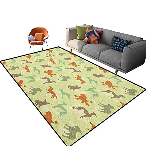 Dog Lover Soft Indoor Modern Area Rugs French Bulldog Greyhound Poodle Terrier Silhouette Pure Breed Animals Canine Type Carpet for Kids Room Girls Boys Indoor Dorm Nursery 6'x 9'