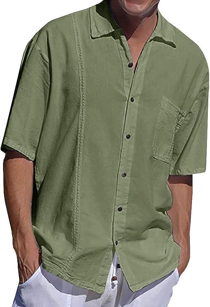 Mens Linen Cuban Guayabera Shirt Short Sleeve Casual Summer Lightweight Beach Loose Fit Tops