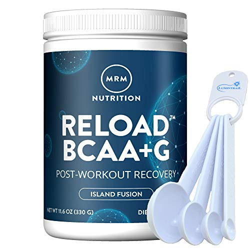 MRM BCAA+G Reload Post-Workout Recovery, Supports Muscle Recovery, 11.6 oz Island Fusion Bundle with a Lumintrail Measuring Spoon Set