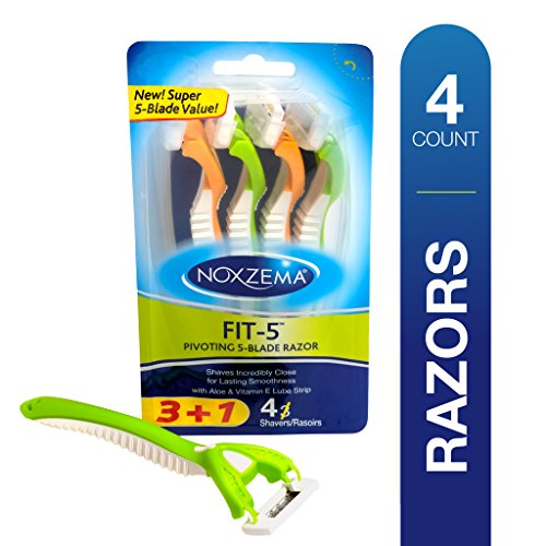 Noxzema Fit 5 Pivoting Blade Razors, 4 Count; Women's Disposable Razors Flex to Adjust to Curves; Features Ultra-Thin Blade, Aloe and Vitamin E Lubricated Moisture Strip and Contoured Control Handle
