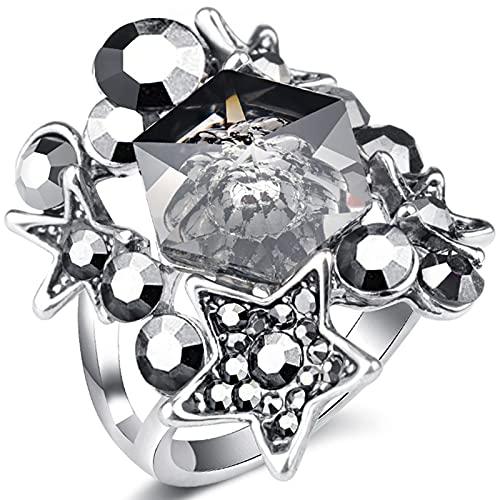 Ezzyso Anillo de Piedra Natural en Forma de Estrella, Estadounidense Creativa de Cristal Transparente Personalidad Anillo de aleación joyería (2 Piezas),8