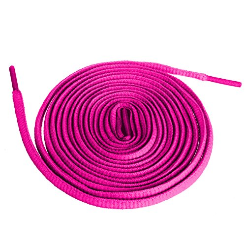 "Shoeslulu 46"" Premium Flat Colorful Fashion Sneakers Shoelaces ([Flat] 46 in. (117 cm), Fuchsia Pink)"