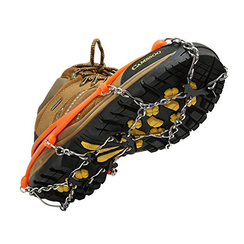 Cosyzone Traction Cleats Ice Grips Spikes for Shoe/Boots Safe for Walking, Jogging, Climbing and Hiking-Orange (L)