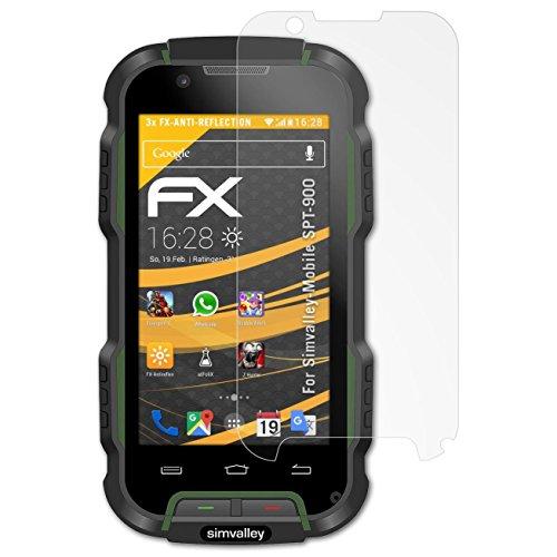 atFolix Panzerfolie kompatibel mit Simvalley-Mobile SPT-900 Schutzfolie, entspiegelnde & stoßdämpfende FX Folie (3X)