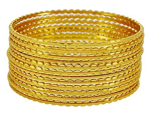 Banithani traditionelle vergoldet Kada Armreif Indianerschmuck Hochzeitsgeschenk für ihre 2 * 6