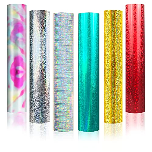Vinilo adhesivo holográfico Starlight cepillado para manualidades, 30,5 cm x 30,5 cm, 6 hojas para Cricut, Silhouette y Cameo, holográfico cepillado
