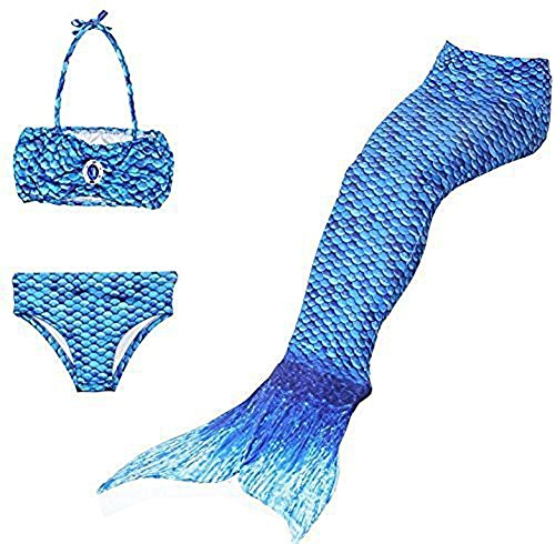 Charm Kingdom Infant Toddler Kids Mermaid Tai Swimsuit Princess Bikini Set Swimwear (110 (2-4Years), Blue)