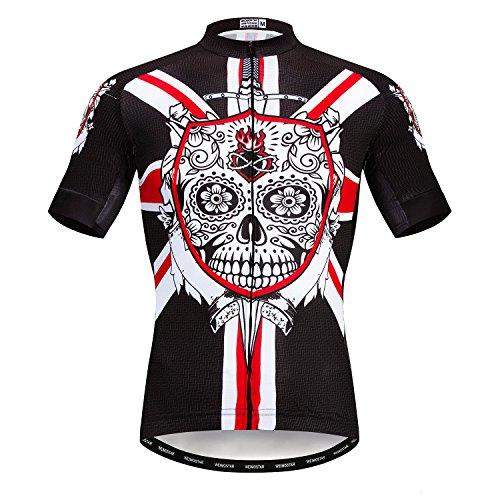 Heren Fietsen Jersey Korte Mouwen Mountainbike Shirt MTB Top Rits Pocket Reflecterende Schedel