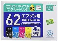エコリカ エプソン(Epson)対応 リサイクル インクカートリッジ IC4CL62 4色セット(ブラック/顔料, シアン/顔料,マゼンタ/顔料, イエロー/顔料) (目印:クリップ) ECI-E624P/BOX 通常容量