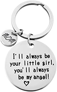 NIKOLay Lettering Keychain I Will Always Be Your Little Girl, You Will Always Be My Hero Disc Pendant Holiday Keychain,MOM