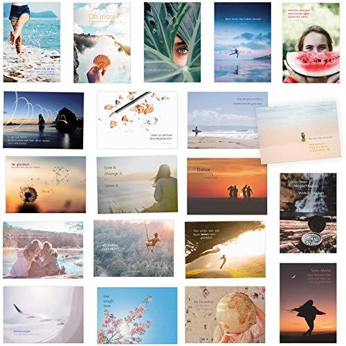 20er Postkarten Set zum Thema LEBEN mit Sprüchen und Zitaten – Jede Postkarte ein Spruch oder Zitat