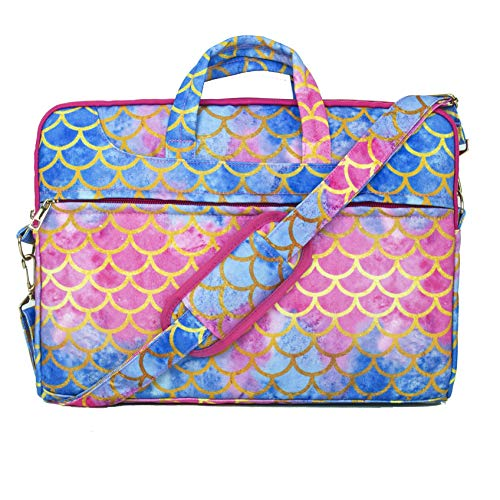TaylorHe 15.6 inch 15 inch 16 inch Poly Canvas Laptop Shoulder Bag with Patterns, Side Pockets Handles and Detachable Strap Mermaid Scale Blue Pink