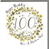 Wendy Jones-Blackett Glückwunschkarte zum runden 100. Geburtstag veredelt mit Kristallen und Glitter. Eine sehr hochwertige und originelle Geburtstagskarte. WP099