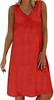 3b9edaf6b21 AIni Mujer Verano De Playa Vestido De Lino De Verano Vestido Mujer Mujer  Camiseta AlgodóN Casual