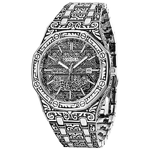 Reloj de pulsera para hombre de cuarzo, calendario, analógico, vintage, grabado de acero inoxidable, aleación, resistente al agua, 30 m, para hombres, plata,