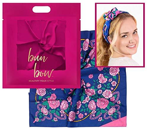Pony Puffin Haartuch - Bun Bow Farbe Blau Pink Floral Kopfband Nickituch Schleifentuch Seidenmatte Optik 50 x 50 cm Bandana Seidentuch