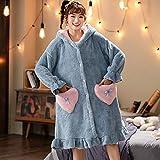 LJQXBF Albornoces de Invierno,Autumn Women's Pajamas Ladies Flannel Pyjamas in Autumn and Winter Lovely Thickened Coral Down Sleepwear Bathrobe in Winter,H,M(40,50) KG