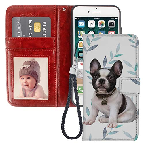 iPhone 6 Plus iPhone 6S Plus Wallet Case, French Bulldog Premium PU Leather Wallet with Viewing Stand and Card Slots, Folio Flip Cover and Wrist Strap for iPhone 6/6S Plus