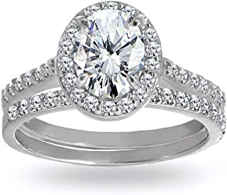 Sterling Silver Cubic Zirconia Oval-cut Halo Bridal Wedding Band Engagement Ring Set