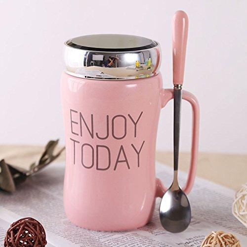 rentzu Multicolor los amantes de la taza de cerámica taza oficina café especular enviar cuchara taza con tapa Cup in English - Pink Spoon