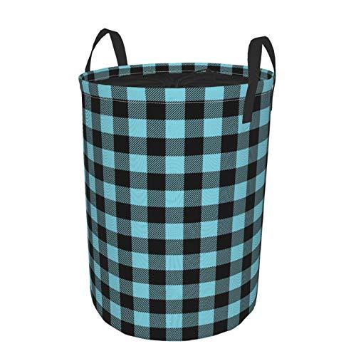 Grande cesto portabiancheria pieghevole rotondo con coulisse impermeabile cesto portabiancheria per bambini, organizer per giocattoli – Buffalo Plaid celeste