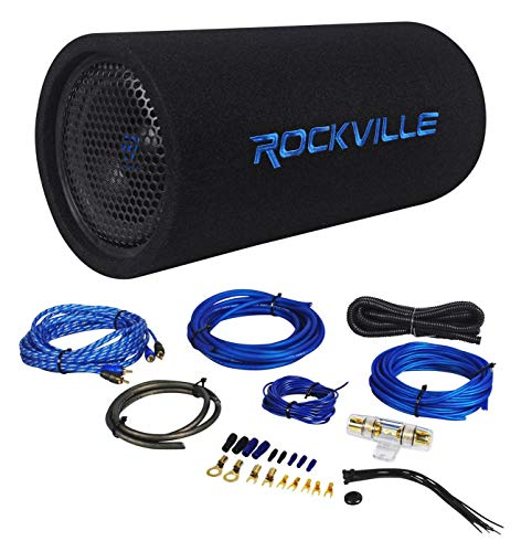 """Package: Rockville RTB80A 8"""" 400 Watt Peak/250 Watt RMS Enclosed Vented Powered Car Bass Tube Subwoofer + Rockville RWK81 8 Gauge 2 Channel Complete Wire Kit With RCA Cable"""