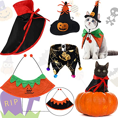 4 Disfraces de Halloween de Mascota Capa de Vampiro de Perro Sombrero de Bruja de Calabaza de Gato Capa de Calabaza Reversible Pañuelo de Araña Ajustable Cadena de Cuello Collar con Campana