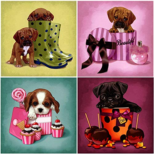 4 Pack 5D Diamond Painting Pug Terrier Beagle French Bulldog by Number Kits, Cute Dogs Full Drill Paint with Diamonds Puppies Craft Home Decor 12x12 inch (30x30 cm)