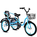 16/18 Inch Two-Seater Kid's Tricycles with Basket for 2-10 Years Old Girls Boys, Folding 3 Wheel Trike Pedal Cruiser Bicycles,Best Cycling Gifts for Safe Riding (Color : Blue, Size : 18in)