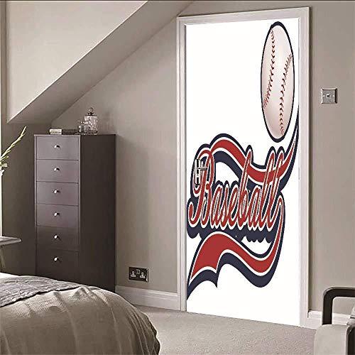 3D Türaufkleber 3D Tür Aufkleber Baseball Tapete Wasserdicht Abnehmbare Vinyl Wandtattoo Kunst Für Zuhause Bad Wohnzimmer Schlafzimmer Dekor-77cm(W)*200cm(H)